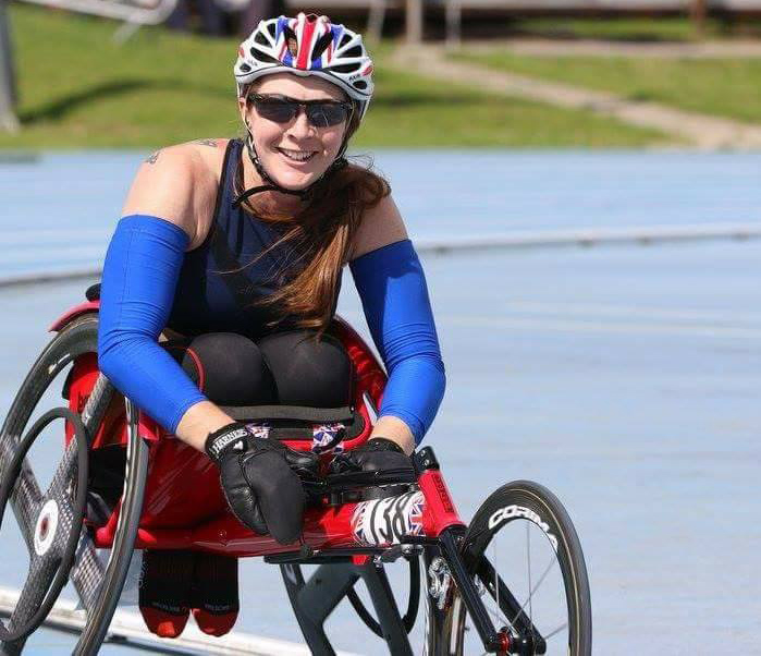 Wheelchair athlete at track