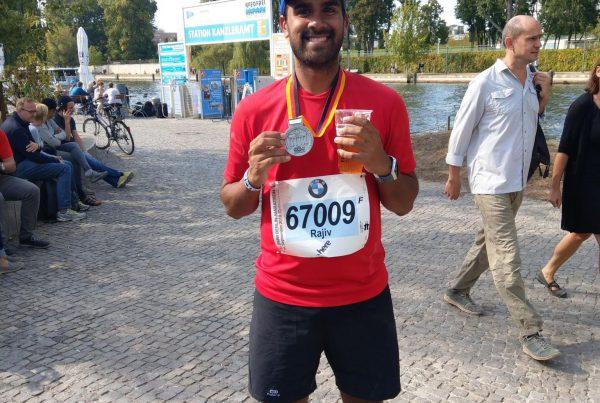Rajiv Solanki from Poole AC at Berlin Marathon